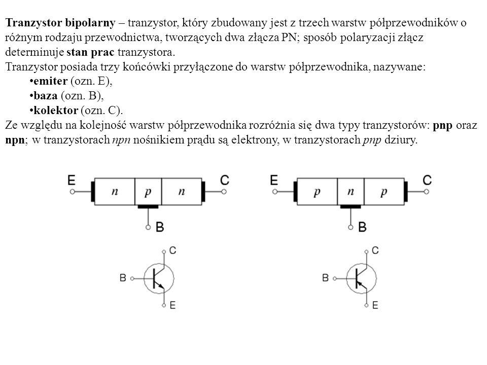Tranzystor bipolarny – tranzystor, który zbudowany jest z trzech warstw półprzewodników o różnym rodzaju przewodnictwa, tworzących dwa złącza PN; sposób polaryzacji złącz determinuje stan prac tranzystora.