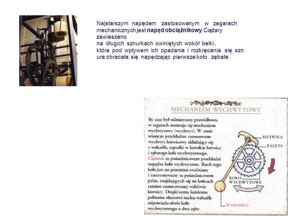 Najstarszym napędem zastosowanym w zegarach mechanicznych jest napęd obciążnikowy.Ciężary zawieszano na długich sznurkach owiniętych wokół belki , która pod wpływem ich opadania i rozkręcania się sznura obracała się napędzając pierwsze koło zębate .