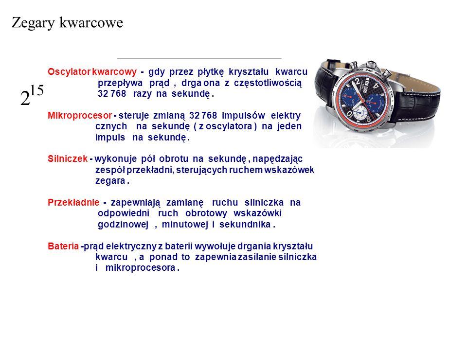 Zegary kwarcowe 2. 15. Oscylator kwarcowy - gdy przez płytkę kryształu kwarcu