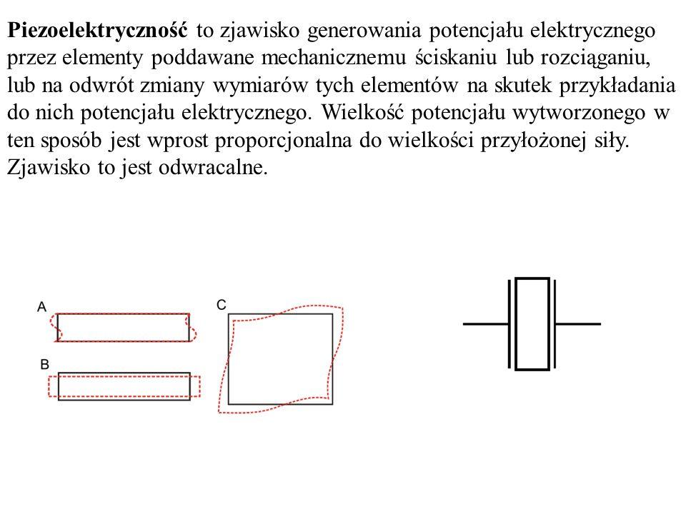 Piezoelektryczność to zjawisko generowania potencjału elektrycznego przez elementy poddawane mechanicznemu ściskaniu lub rozciąganiu, lub na odwrót zmiany wymiarów tych elementów na skutek przykładania do nich potencjału elektrycznego.