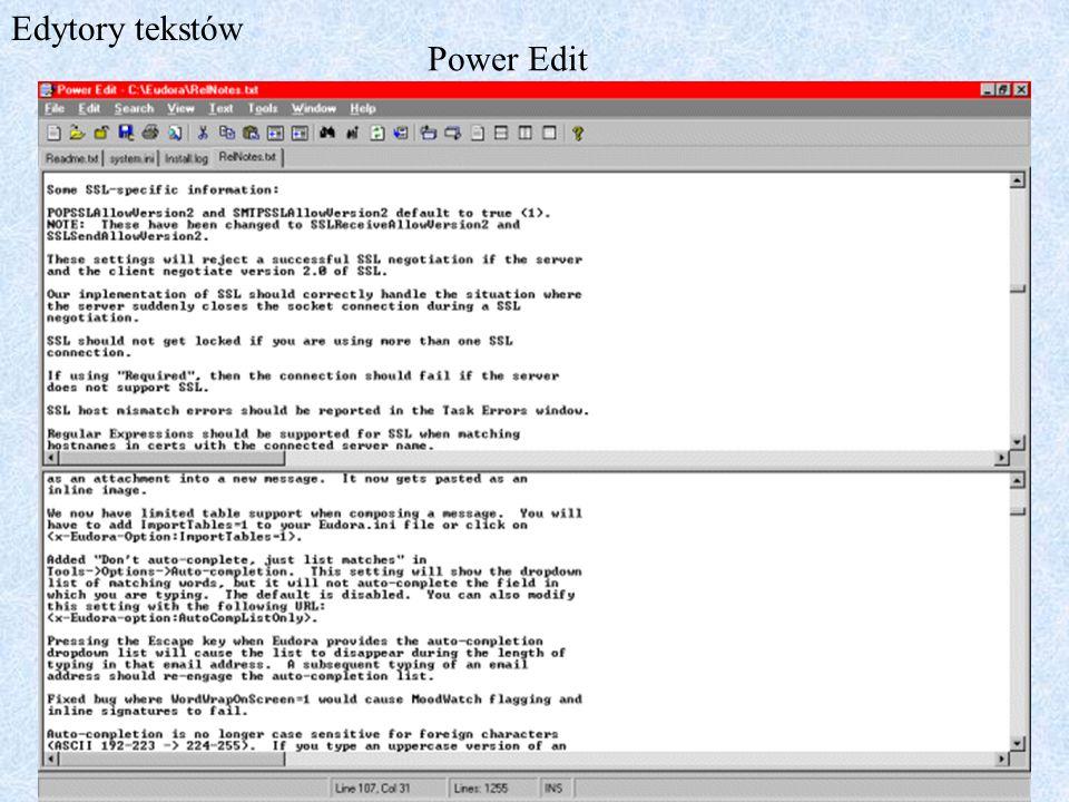 Edytory tekstów Power Edit