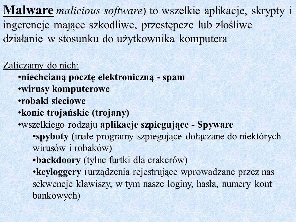 Malware malicious software) to wszelkie aplikacje, skrypty i ingerencje mające szkodliwe, przestępcze lub złośliwe działanie w stosunku do użytkownika komputera