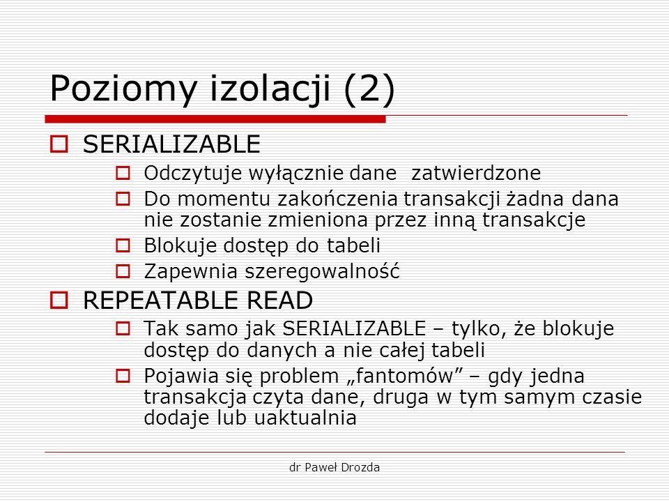 Poziomy izolacji (2) SERIALIZABLE REPEATABLE READ