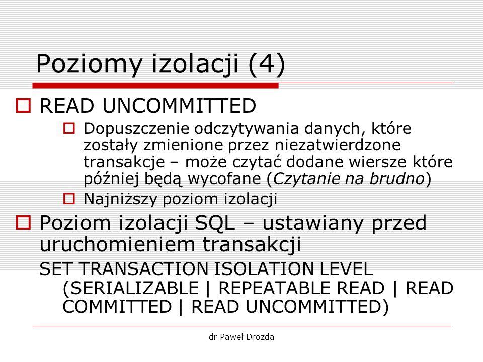 Poziomy izolacji (4) READ UNCOMMITTED