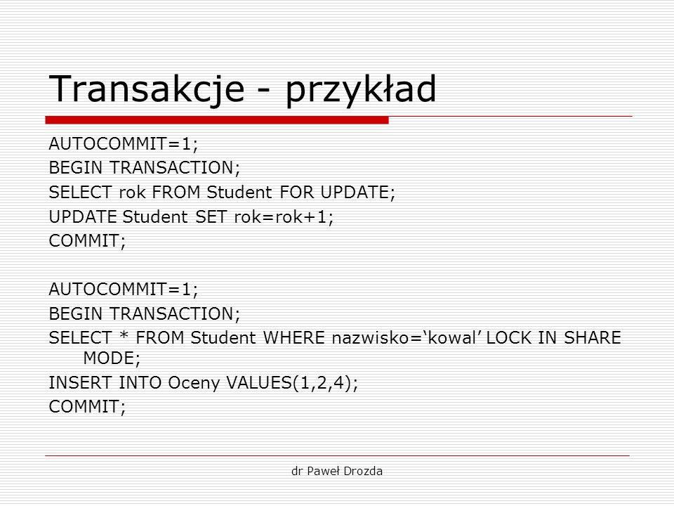 Transakcje - przykład AUTOCOMMIT=1; BEGIN TRANSACTION;