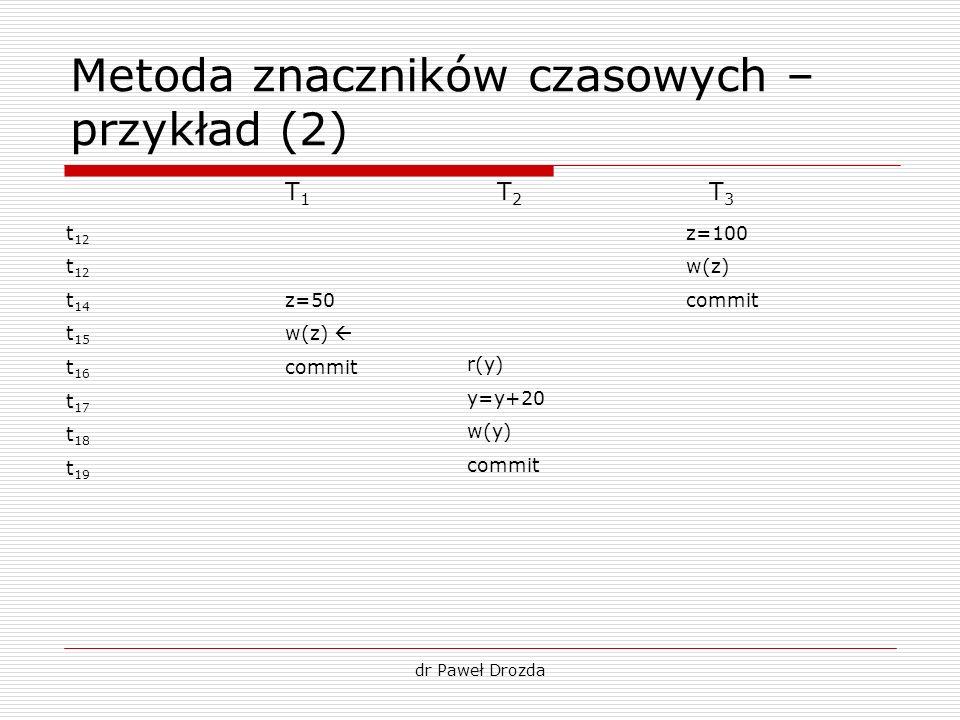 Metoda znaczników czasowych – przykład (2)