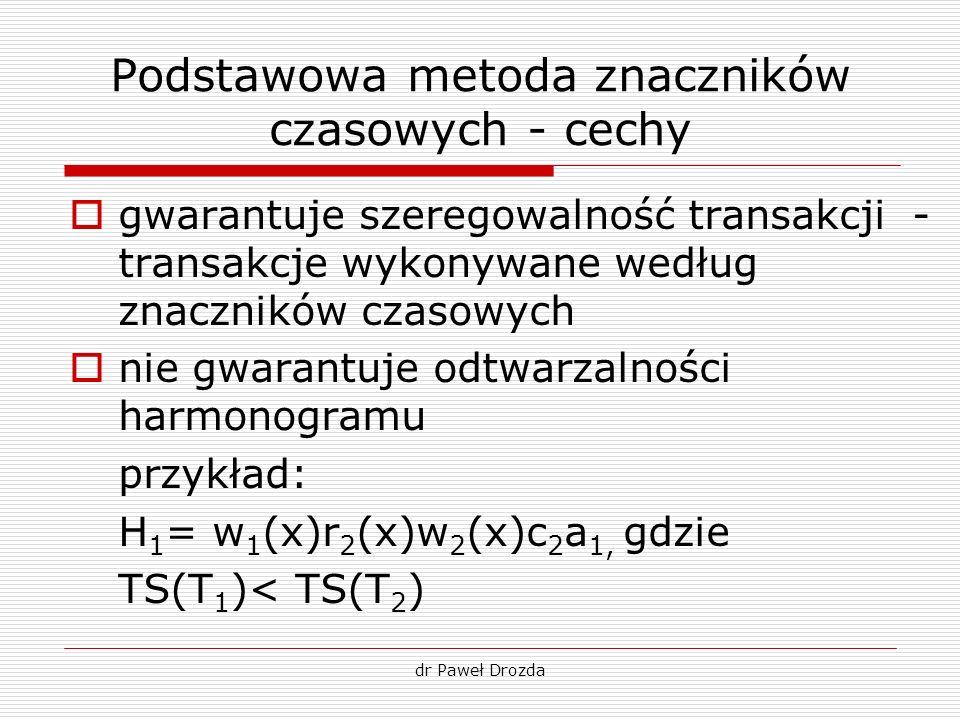 Podstawowa metoda znaczników czasowych - cechy