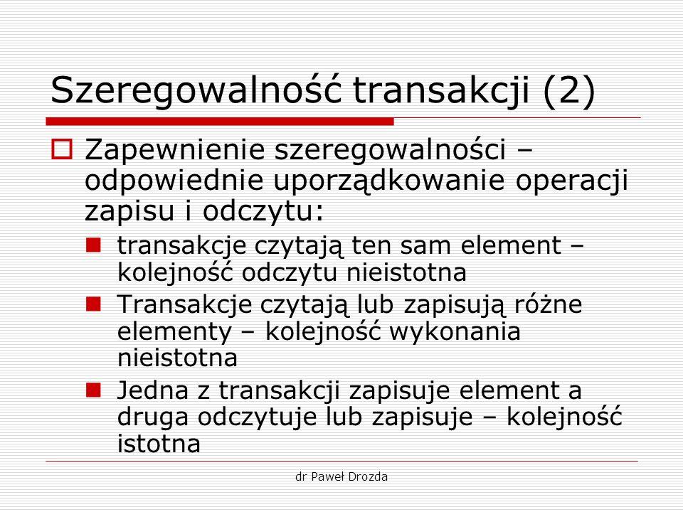Szeregowalność transakcji (2)