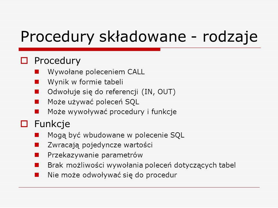 Procedury składowane - rodzaje