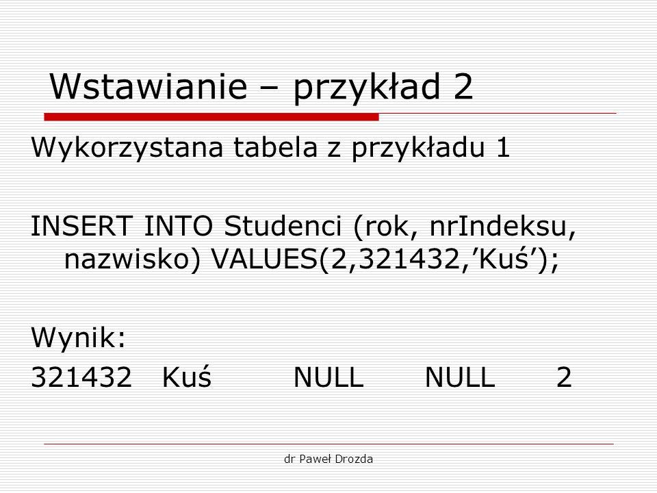 Wstawianie – przykład 2 Wykorzystana tabela z przykładu 1
