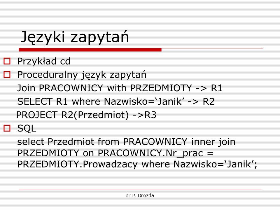 Języki zapytań Przykład cd Proceduralny język zapytań