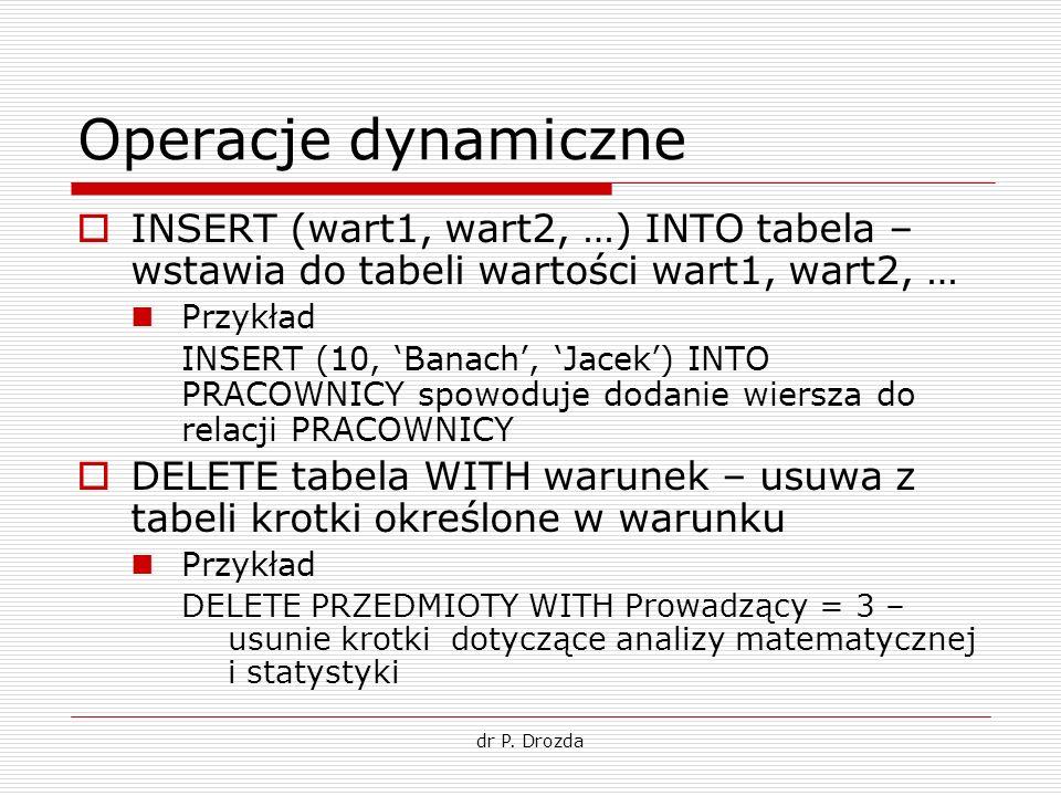 Operacje dynamiczne INSERT (wart1, wart2, …) INTO tabela – wstawia do tabeli wartości wart1, wart2, …