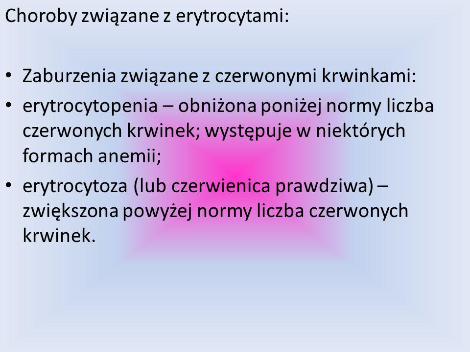 Choroby związane z erytrocytami: