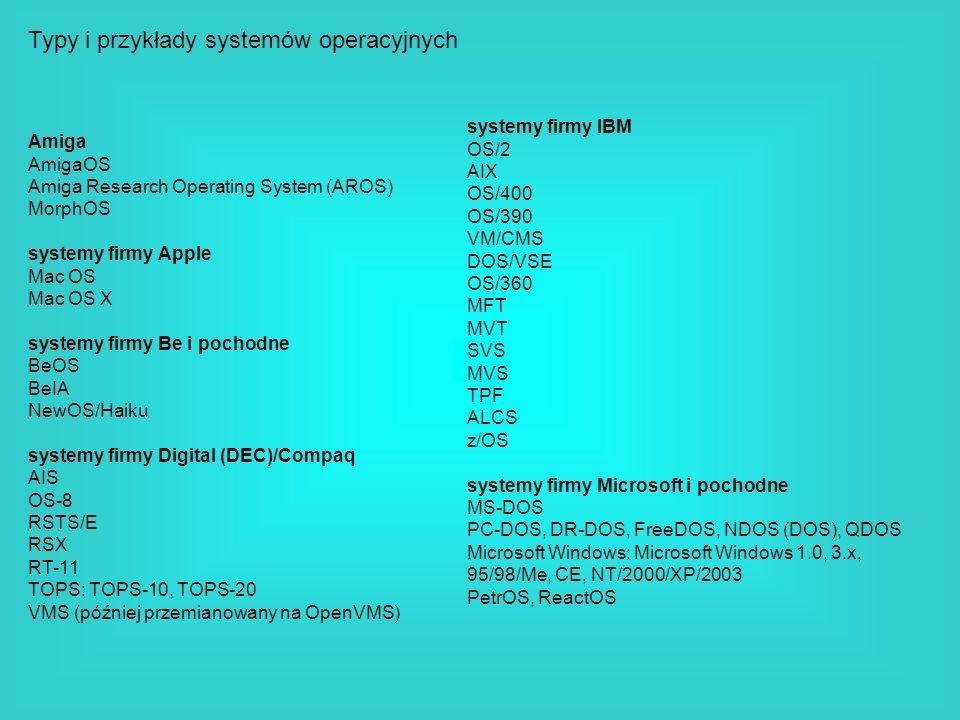 Typy i przykłady systemów operacyjnych