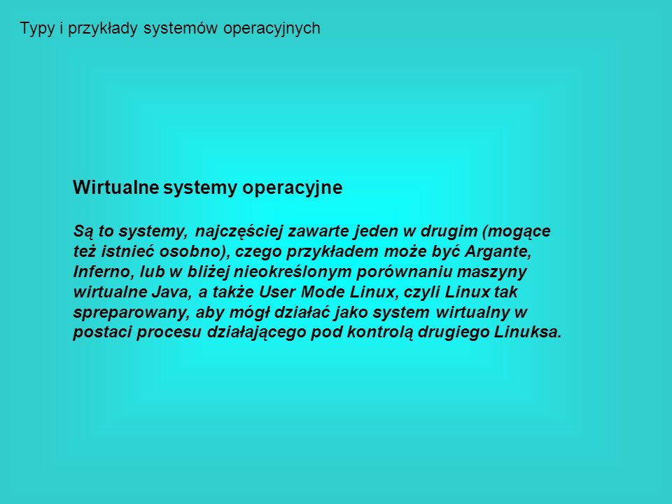 Wirtualne systemy operacyjne
