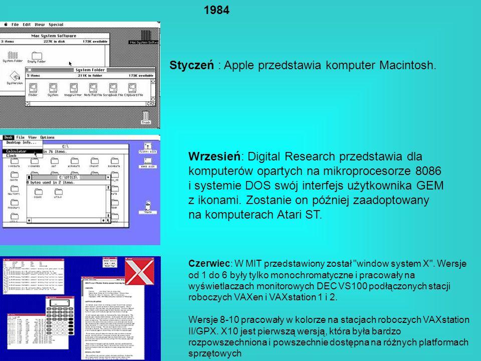 Styczeń : Apple przedstawia komputer Macintosh.