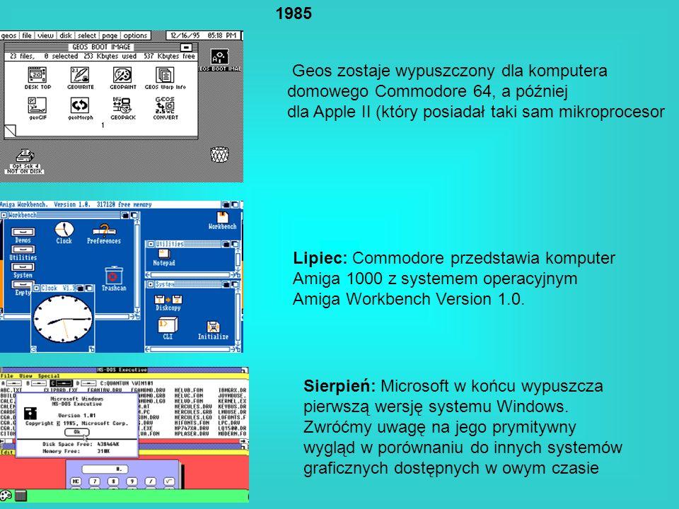 1985Geos zostaje wypuszczony dla komputera. domowego Commodore 64, a później. dla Apple II (który posiadał taki sam mikroprocesor.