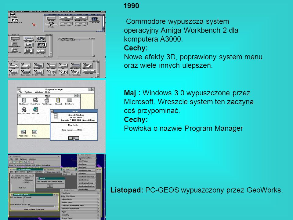 1990Commodore wypuszcza system operacyjny Amiga Workbench 2 dla komputera A3000. Cechy: