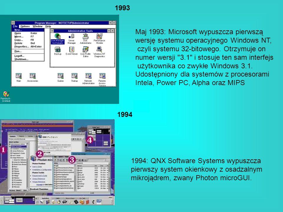 1993Maj 1993: Microsoft wypuszcza pierwszą. wersję systemu operacyjnego Windows NT, czyli systemu 32-bitowego. Otrzymuje on.