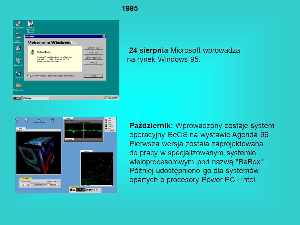 199524 sierpnia Microsoft wprowadza. na rynek Windows 95. Październik: Wprowadzony zostaje system. operacyjny BeOS na wystawie Agenda 96.