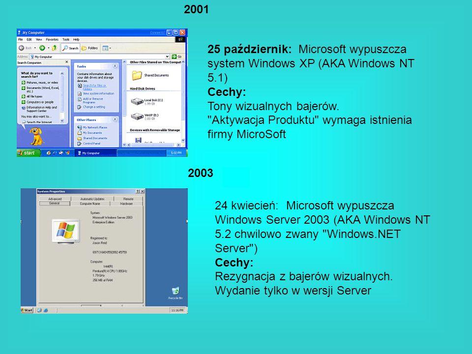2001 25 październik: Microsoft wypuszcza system Windows XP (AKA Windows NT 5.1) Cechy: Tony wizualnych bajerów.