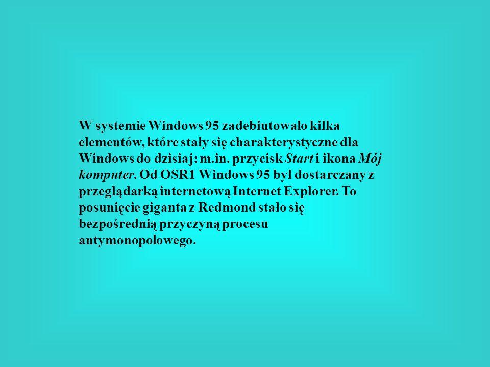 W systemie Windows 95 zadebiutowało kilka elementów, które stały się charakterystyczne dla Windows do dzisiaj: m.in.