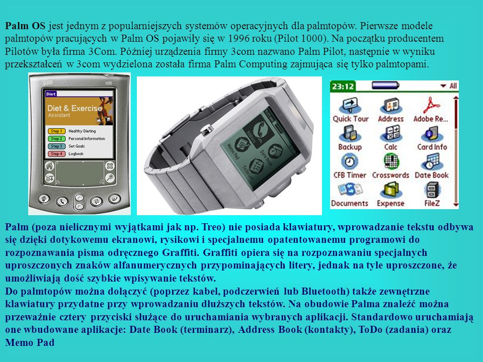 Palm OS jest jednym z popularniejszych systemów operacyjnych dla palmtopów. Pierwsze modele palmtopów pracujących w Palm OS pojawiły się w 1996 roku (Pilot 1000). Na początku producentem Pilotów była firma 3Com. Później urządzenia firmy 3com nazwano Palm Pilot, następnie w wyniku przekształceń w 3com wydzielona została firma Palm Computing zajmująca się tylko palmtopami.