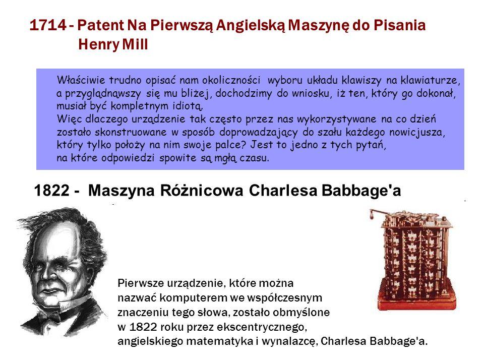 1714 - Patent Na Pierwszą Angielską Maszynę do Pisania Henry Mill