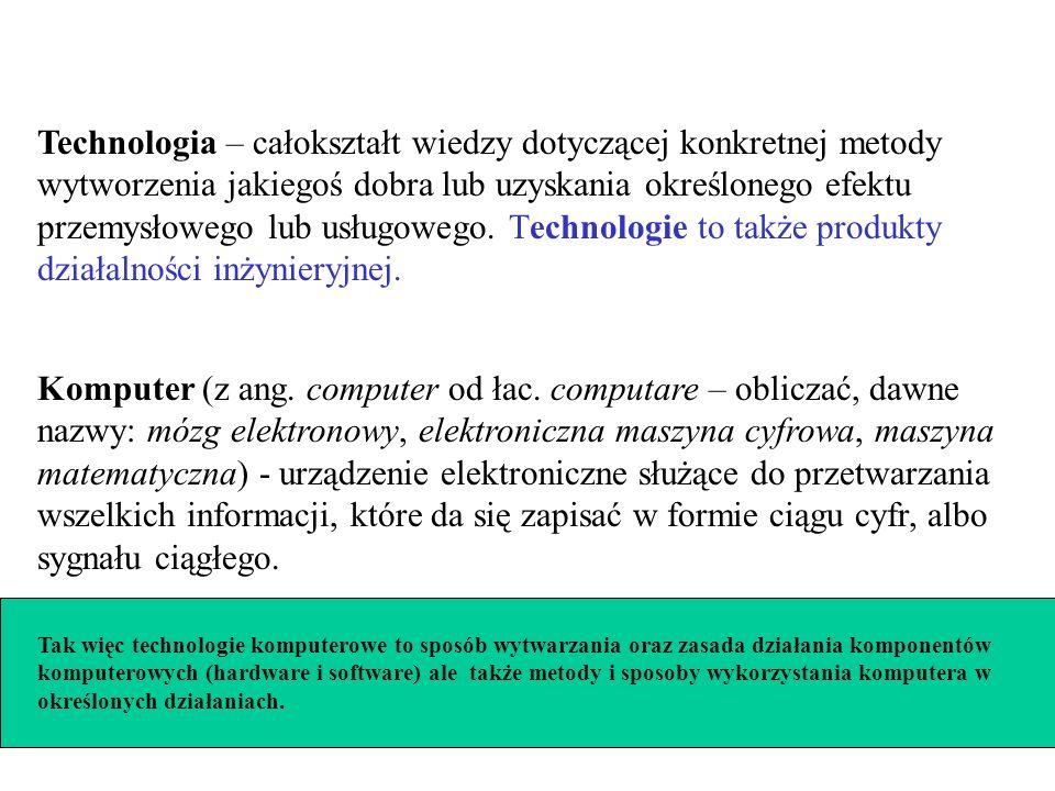 Technologia – całokształt wiedzy dotyczącej konkretnej metody wytworzenia jakiegoś dobra lub uzyskania określonego efektu przemysłowego lub usługowego. Technologie to także produkty działalności inżynieryjnej.