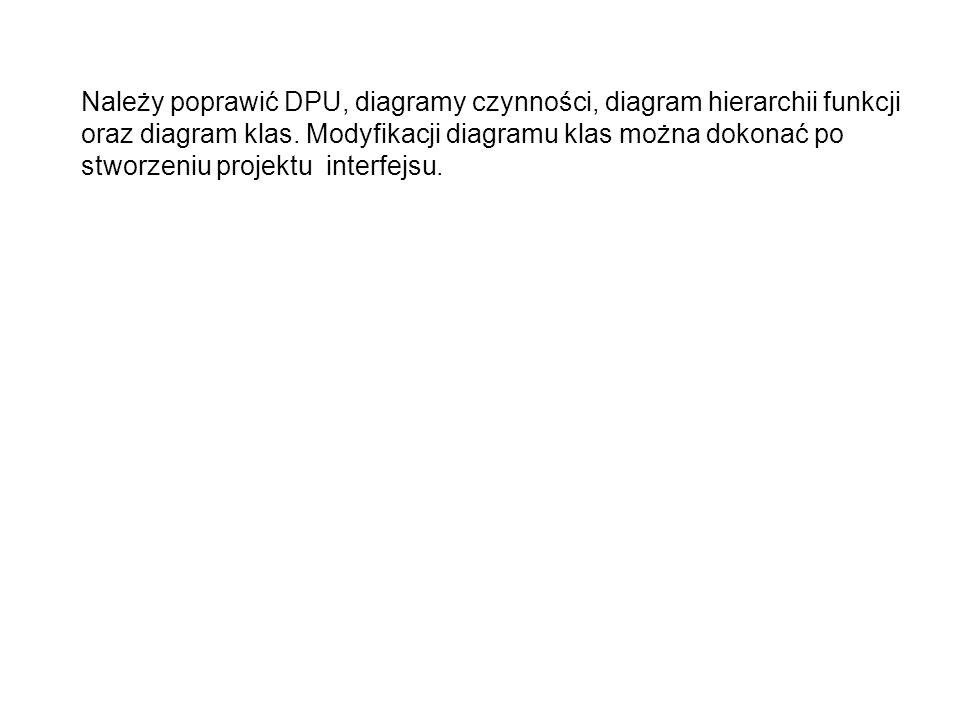 Należy poprawić DPU, diagramy czynności, diagram hierarchii funkcji oraz diagram klas.