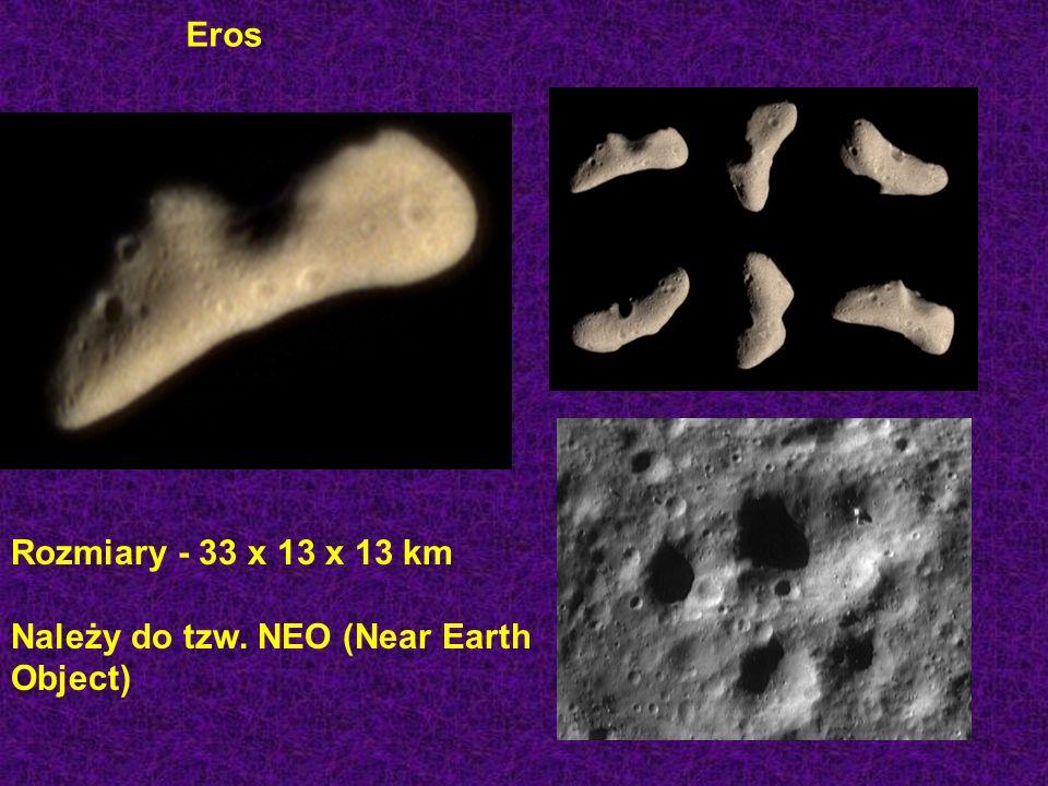 Eros Rozmiary - 33 x 13 x 13 km Należy do tzw. NEO (Near Earth Object)