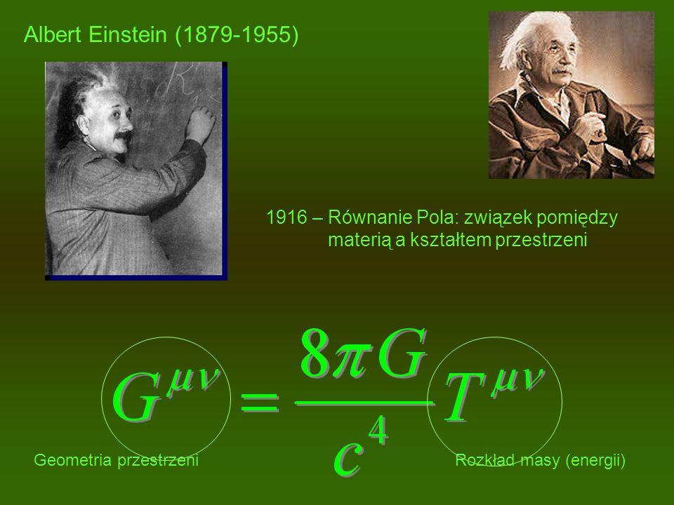 Albert Einstein (1879-1955) 1916 – Równanie Pola: związek pomiędzy