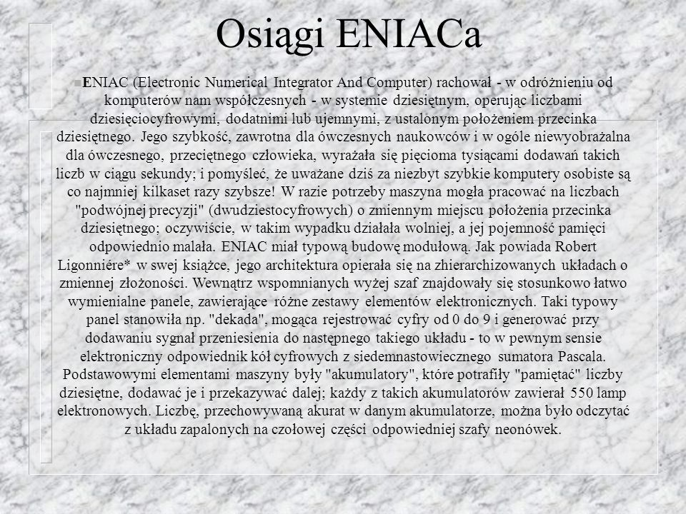Osiągi ENIACa
