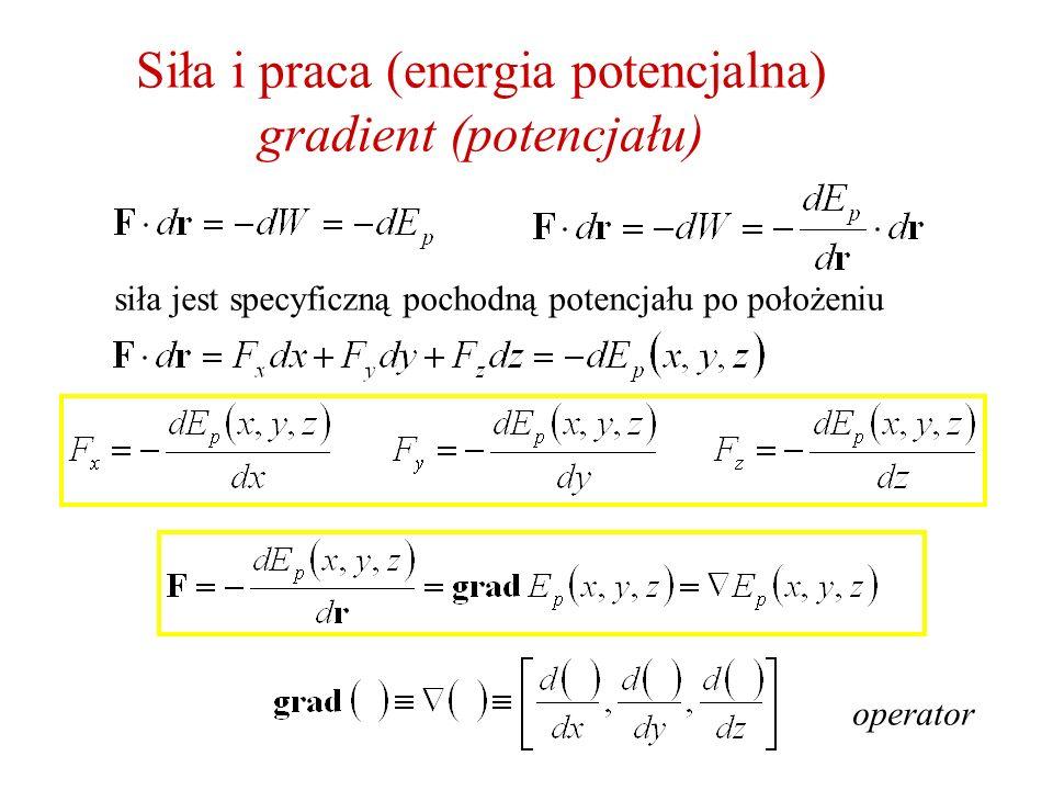 Siła i praca (energia potencjalna) gradient (potencjału)