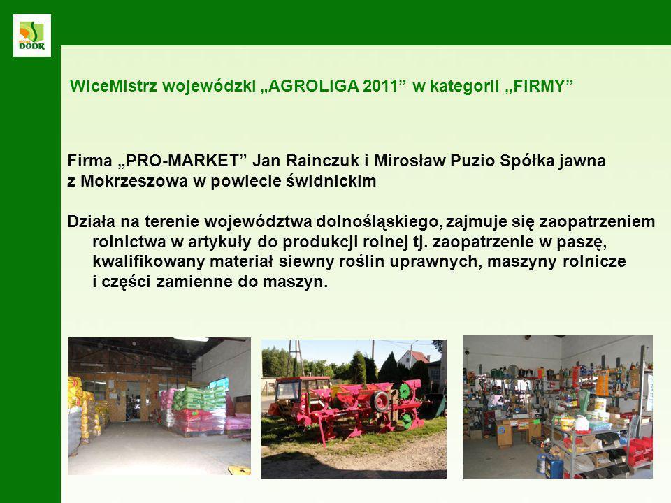 """WiceMistrz wojewódzki """"AGROLIGA 2011 w kategorii """"FIRMY"""