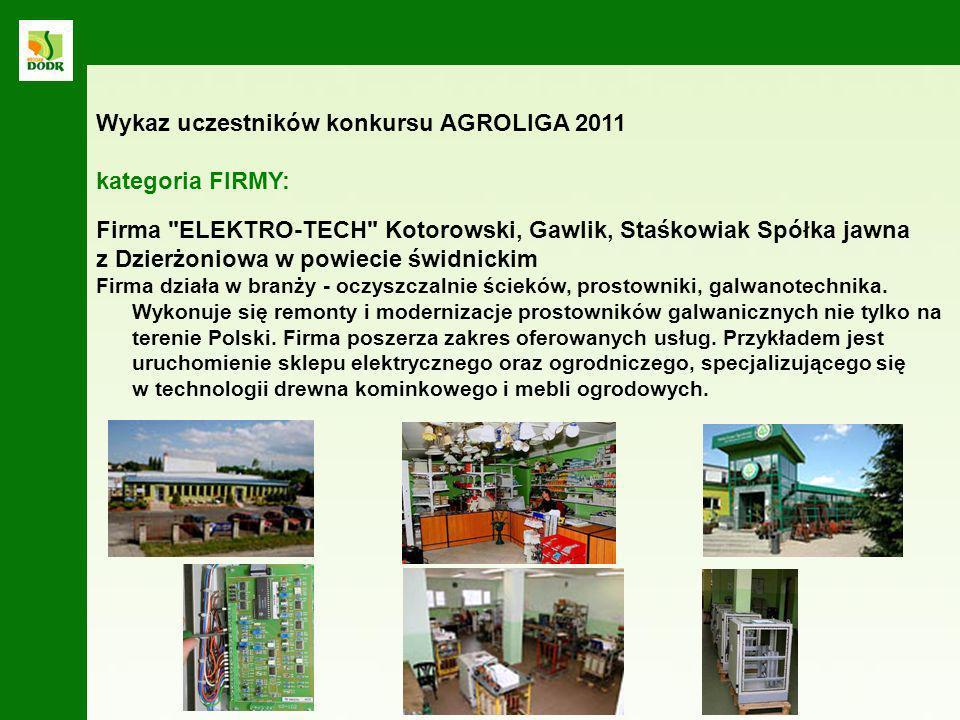 Wykaz uczestników konkursu AGROLIGA 2011 kategoria FIRMY: