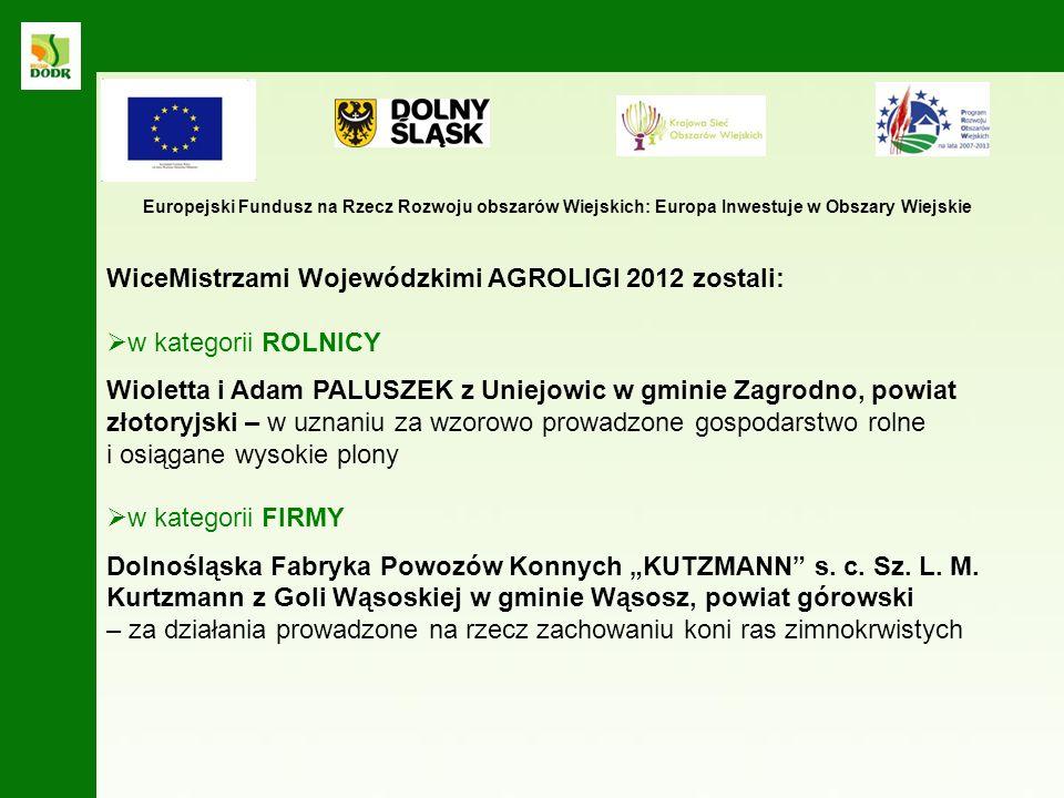 WiceMistrzami Wojewódzkimi AGROLIGI 2012 zostali: w kategorii ROLNICY
