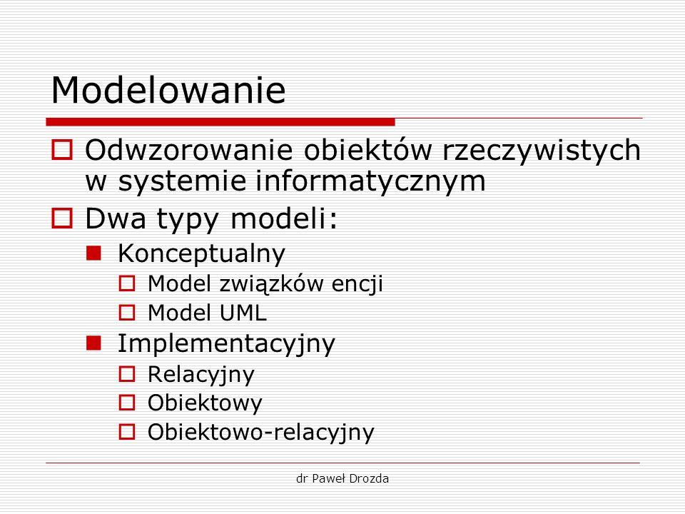 Modelowanie Odwzorowanie obiektów rzeczywistych w systemie informatycznym. Dwa typy modeli: Konceptualny.
