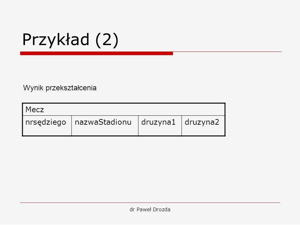 Przykład (2) Wynik przekształcenia Mecz nrsędziego nazwaStadionu
