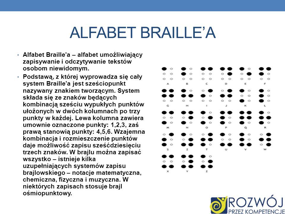 ALFABET BRAILLE'A Alfabet Braille a – alfabet umożliwiający zapisywanie i odczytywanie tekstów osobom niewidomym.