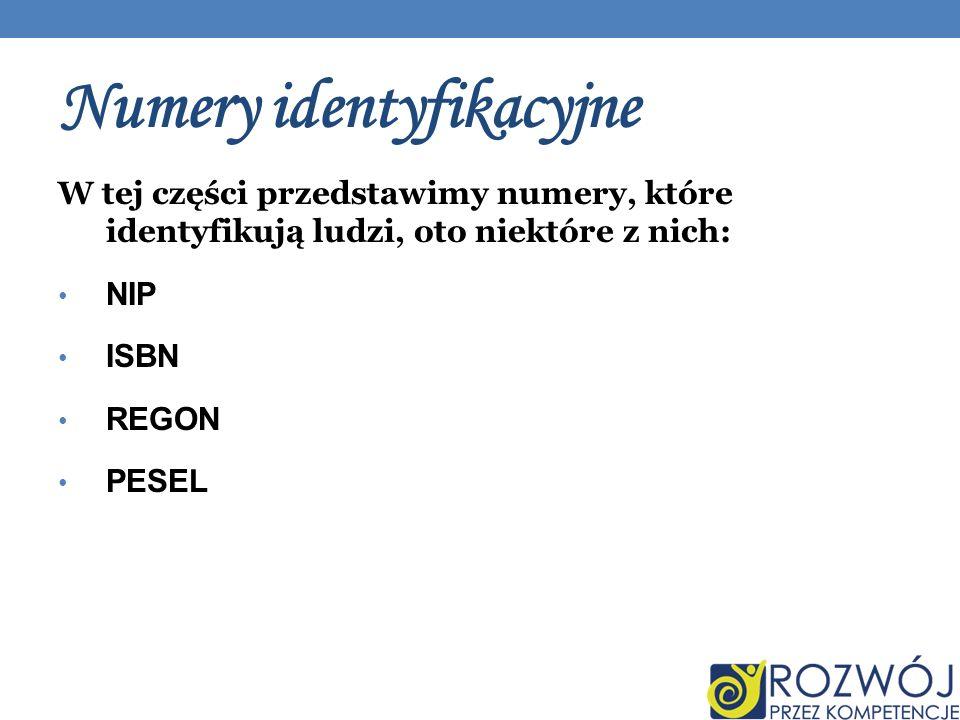 Numery identyfikacyjne