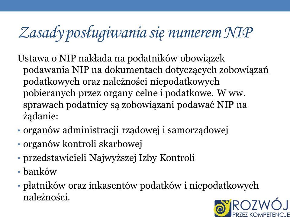 Zasady posługiwania się numerem NIP