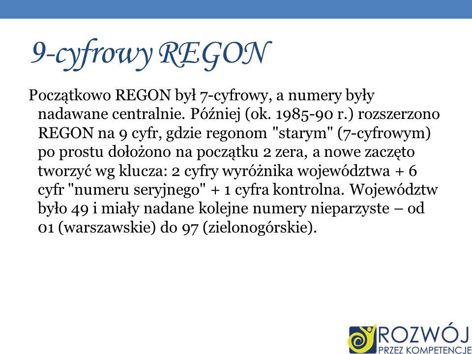9-cyfrowy REGON
