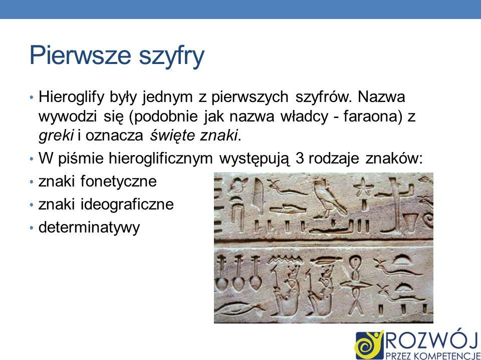 Pierwsze szyfry Hieroglify były jednym z pierwszych szyfrów. Nazwa wywodzi się (podobnie jak nazwa władcy - faraona) z greki i oznacza święte znaki.