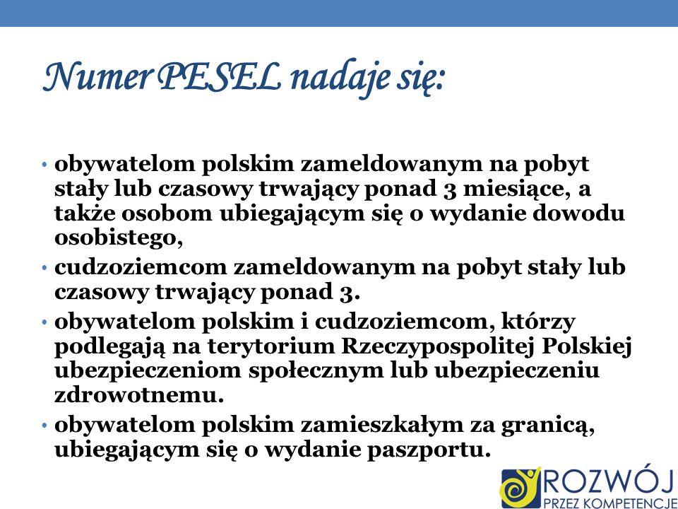 Numer PESEL nadaje się: