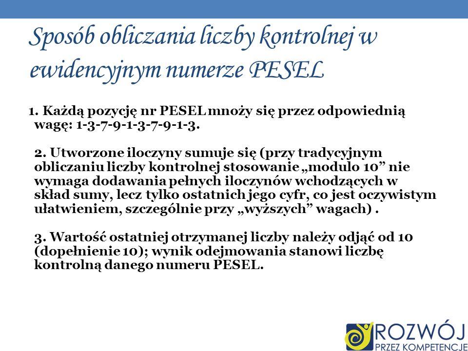 Sposób obliczania liczby kontrolnej w ewidencyjnym numerze PESEL