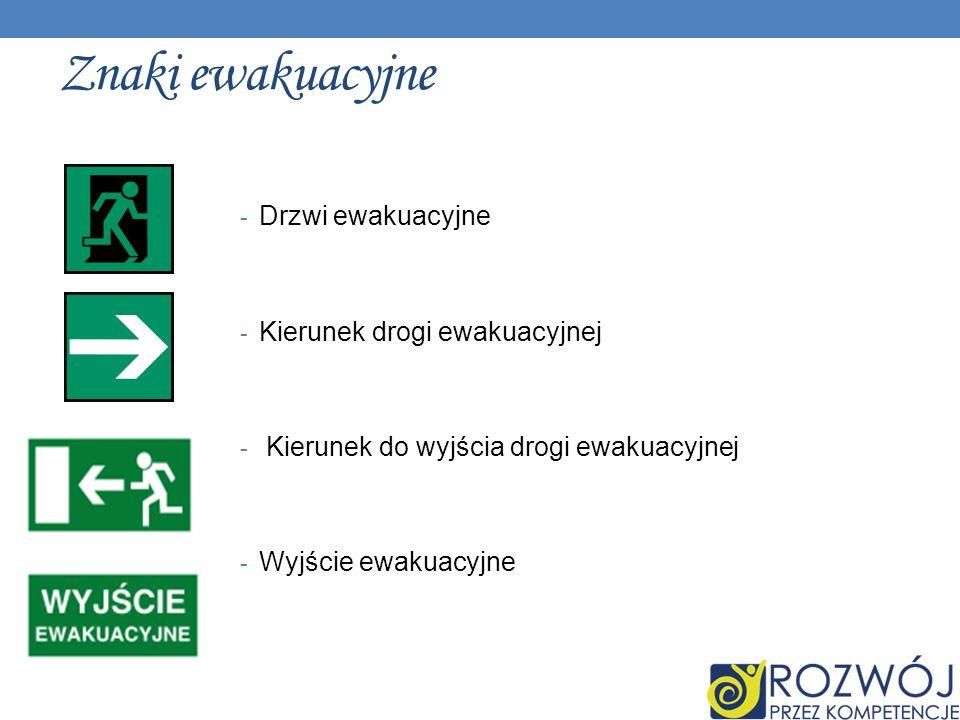 Znaki ewakuacyjne Drzwi ewakuacyjne Kierunek drogi ewakuacyjnej