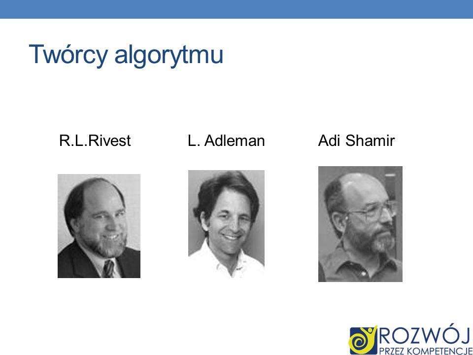 Twórcy algorytmu R.L.Rivest L. Adleman Adi Shamir