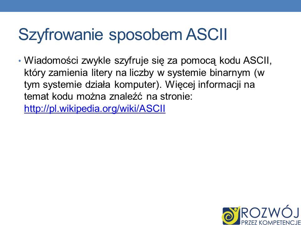 Szyfrowanie sposobem ASCII