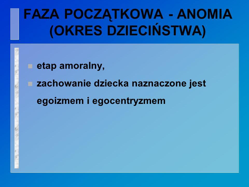 FAZA POCZĄTKOWA - ANOMIA (OKRES DZIECIŃSTWA)